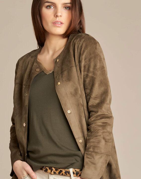 Fabiana long sheepskin-look khaki coat PhotoZ | 1-2-3