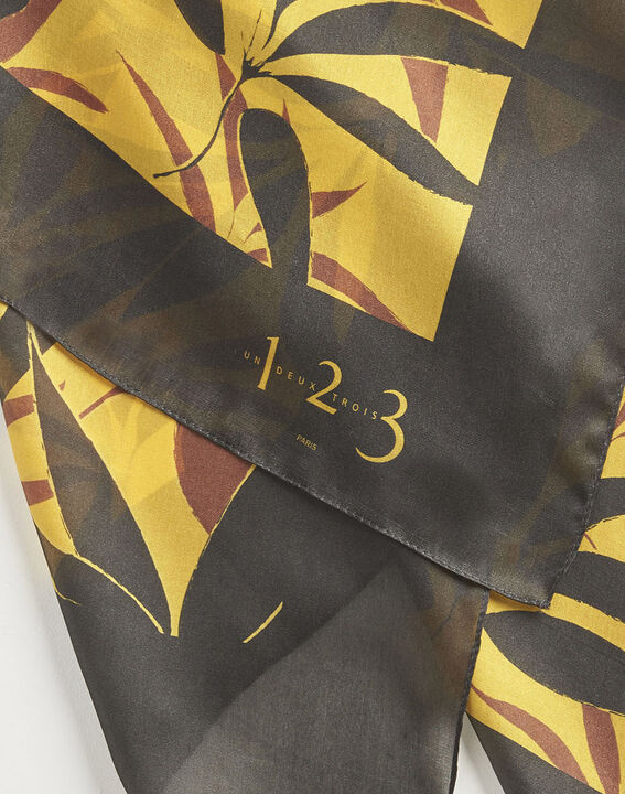 Aurelie caramel square silk scarf with leaf print PhotoZ | 1-2-3