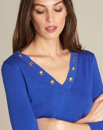 Tee-shirt bleu roi encolure à oeillets bleuet.