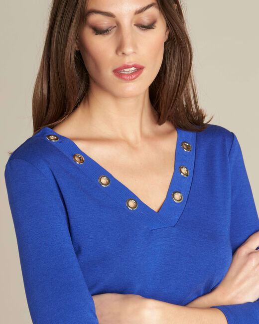 Royal blue T-shirt with eyelets on the neckline (2) - 1-2-3