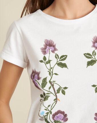 Tee-shirt blanc brodé edelweiss blanc.