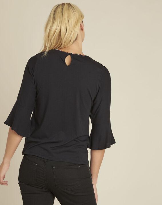 Schwarze Bluse aus Bimaterial mit originellem Ausschnitt Cheyenne (4) - 1-2-3