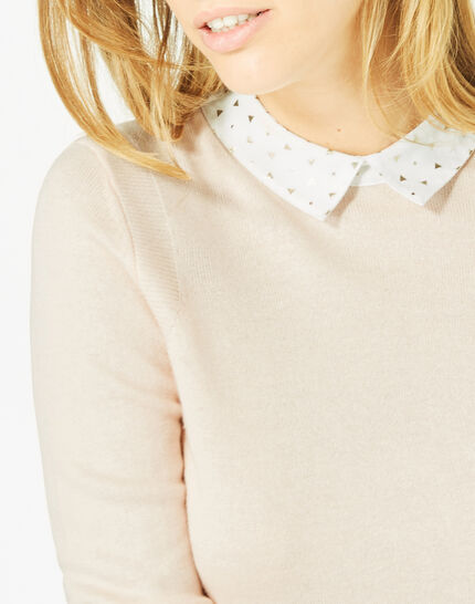 Pretty pale pink sweater with stylish neckline (3) - 1-2-3