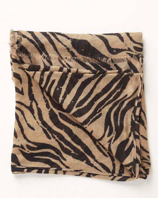 Camelfarbenes Halstuch mit Zebraprint Ange (1) - 1-2-3