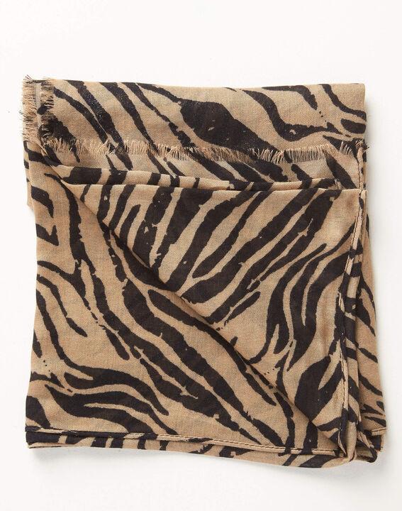 Camel sjaaltje met zebraprint Ange (2) - Maison 123