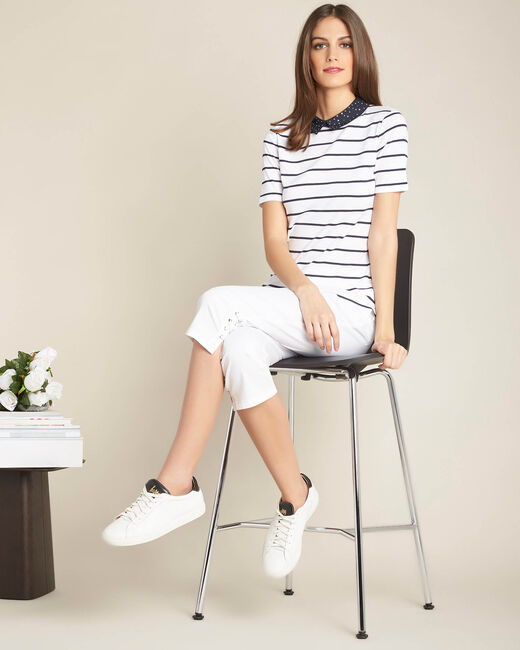 Eglantine navy blue striped T-shirt with Peter Pan collar (1) - 1-2-3