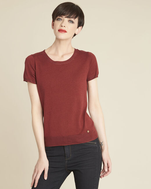 Begonia mahogany fine-knit sweater with rounded neckline (2) - 1-2-3
