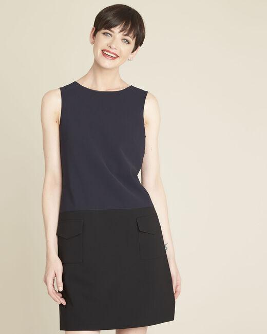 Donkerblauwe jurk van microvezel met vastgeplakte zakken Dolly (2) - 37653