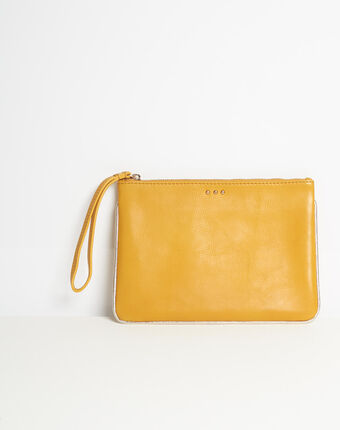 Droopy pale yellow clutch with leather straps corn.
