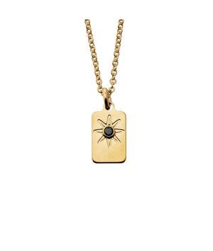 Collier mini rectangle or éclat de zircon noir Bijoux Léone