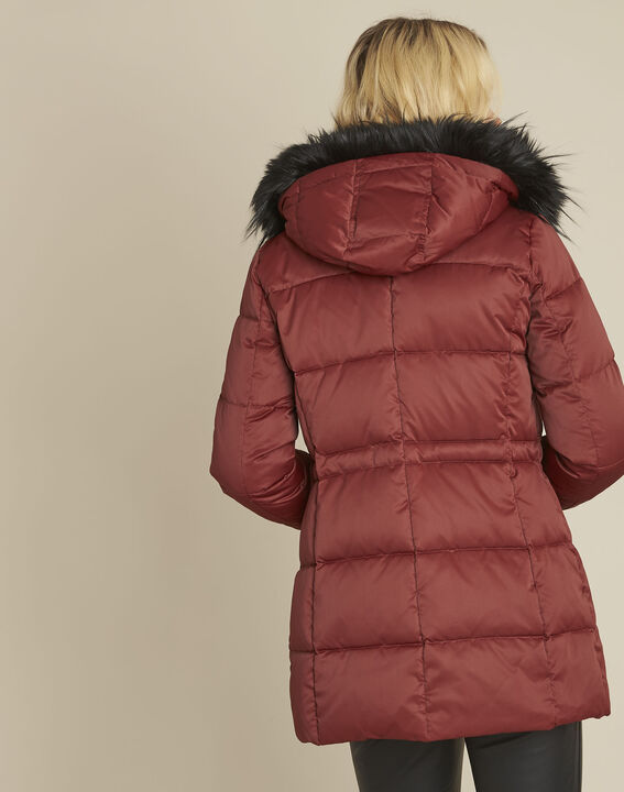 Peggy red hooded down jacket with pull cord (4) - Maison 123