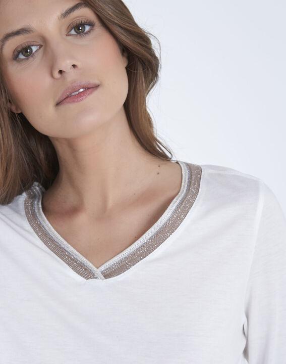 Tee-shirt écru encolure lurex Paillette (3) - Maison 123