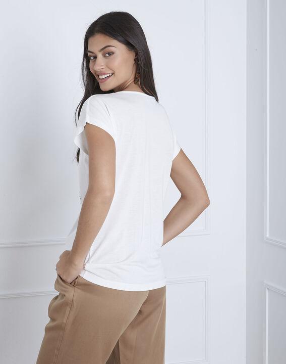 Ecrufarbenes, besticktes T-Shirt Pamplemousse (4) - Maison 123
