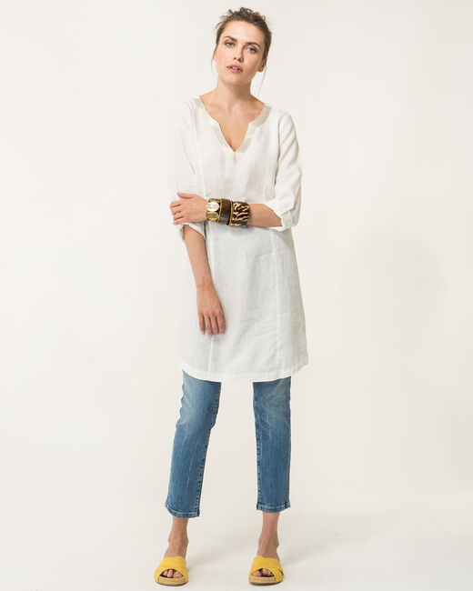 Robe écrue en lin Blanche (1) - 1-2-3