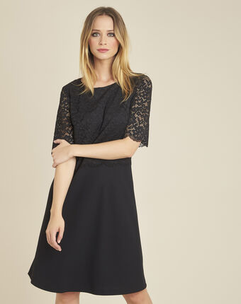 Narling dual-fabric black skate dress with lace top black.