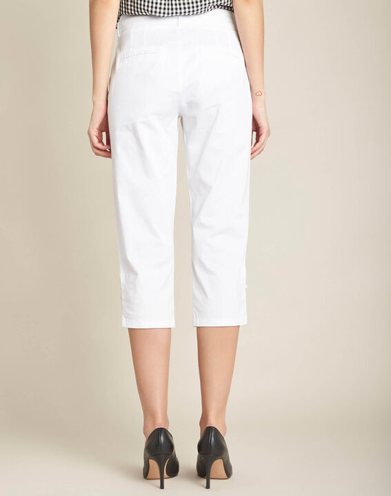 Jamy white cotton cropped trousers with lacing (4) - 1-2-3