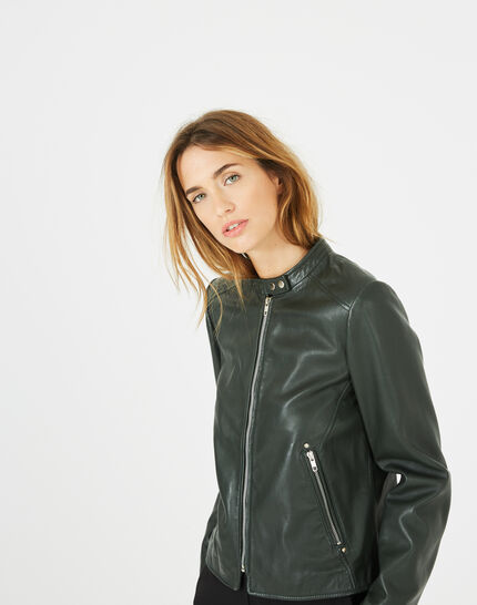 Hugo forest green leather jacket (2) - 1-2-3