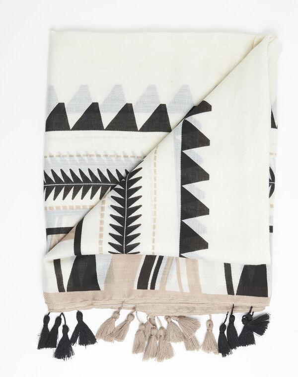 Sjaal met Azteekse print en pompons Fago (1) - 37653