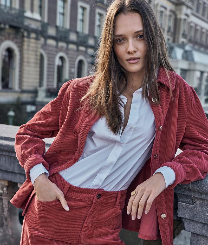 Surchemise en velours côtélé rouge brique Roma PhotoZ | 1-2-3