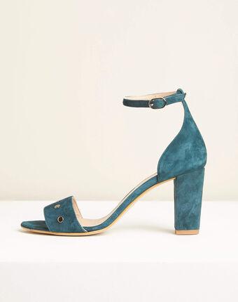 Klen green suede-effect heeled sandals emerald.