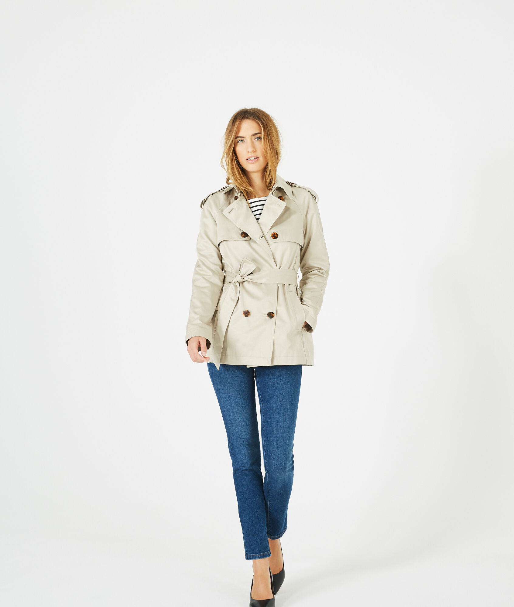 Jeanne short cream trench coat - 123