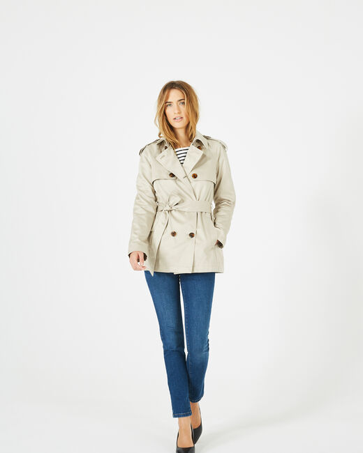 Jeanne short cream trench coat (2) - 1-2-3