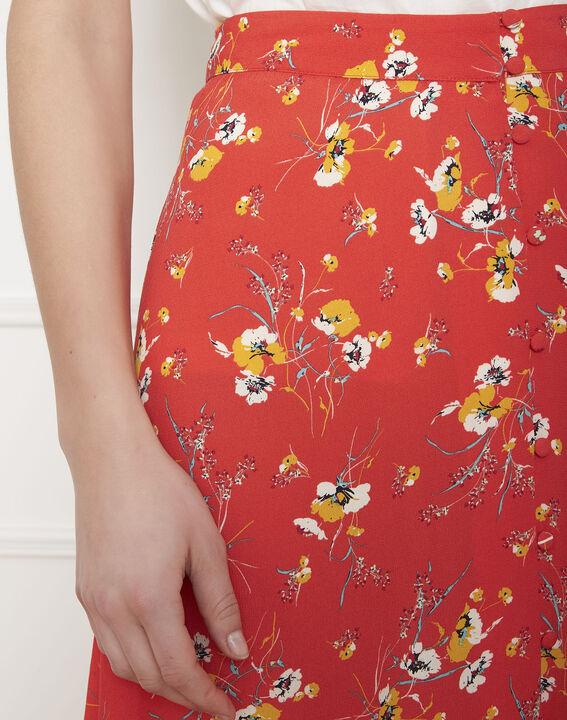 Jupe rouge longue imprimé fleuri Saya (3) - Maison 123