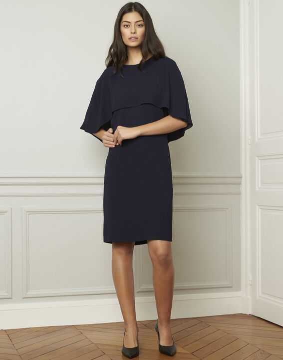 Heidi navy dress with cape detail  (2) - 1-2-3