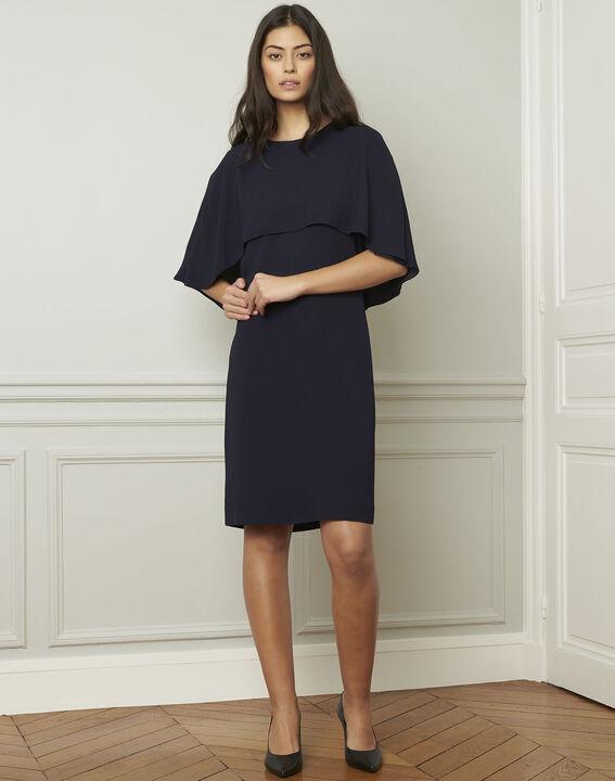Marineblauwe jurk met cape Heidi (2) - Maison 123