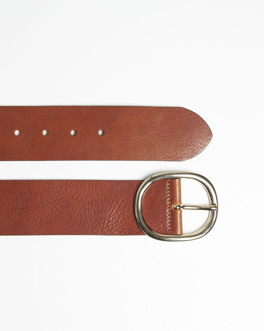 Ceinture marron large en cuir Quesia (1) - 1-2-3