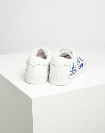 Baskets blanches fleuries en cuir kristy blanc.