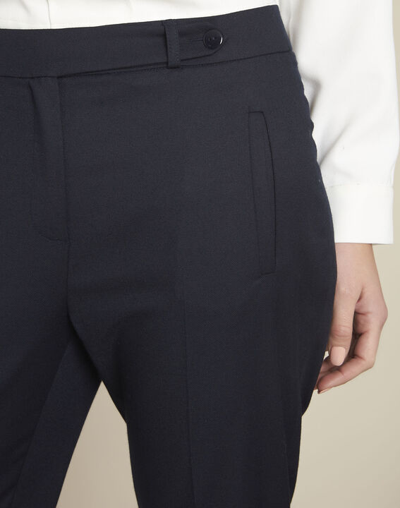 Zip-up tapered navy viscose trousers (3) - 1-2-3