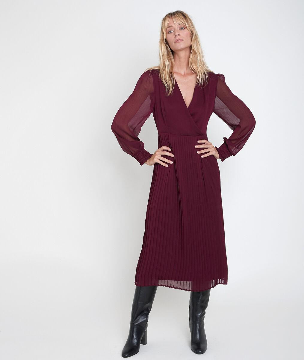 Robe longue plissée grenat Caresse PhotoZ | 1-2-3