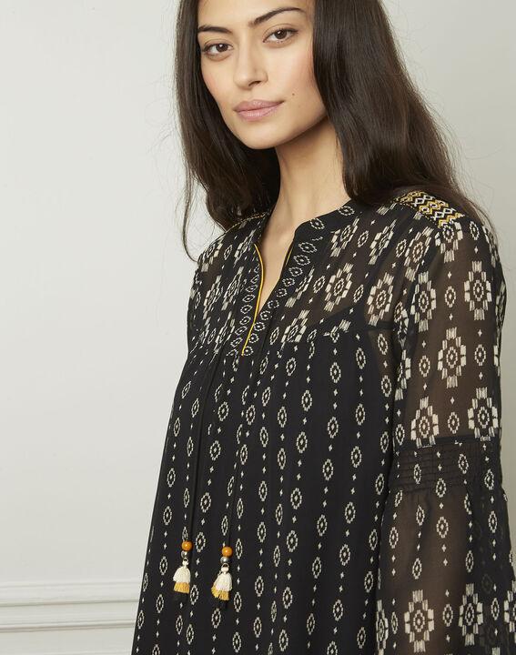 Zwarte jurk met fantasiemotieven Loise (4) - 37653