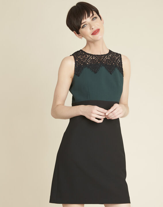 Noe emerald green dual-fabric dress with lace neckline PhotoZ | 1-2-3