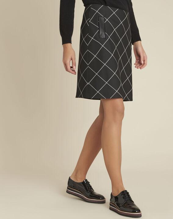 Zwarte trapezium jurk met ruitjes Alixia PhotoZ | 1-2-3