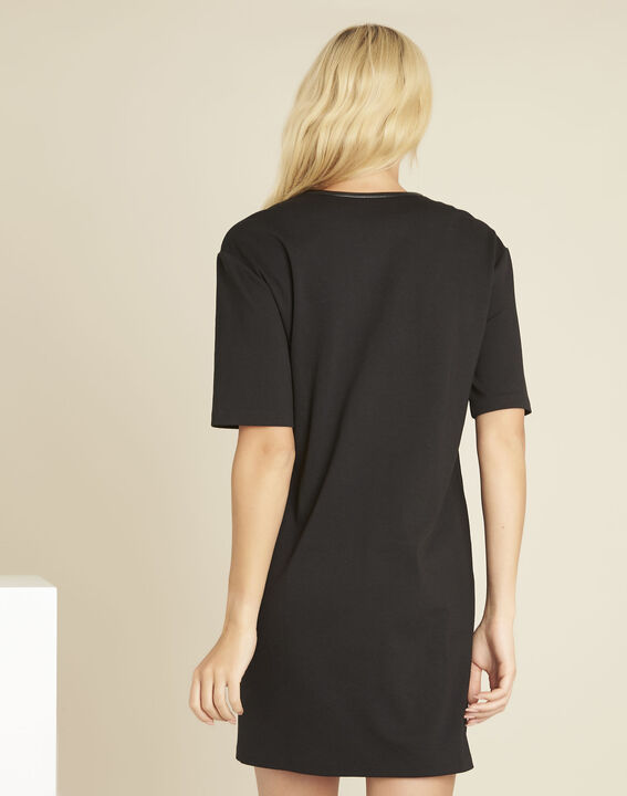Douce black Milano dress with faux leather details (4) - 1-2-3