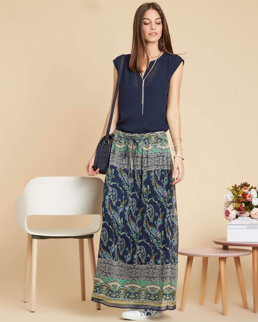 Lucius long navy skirt with ethnic pattern (2) - 1-2-3