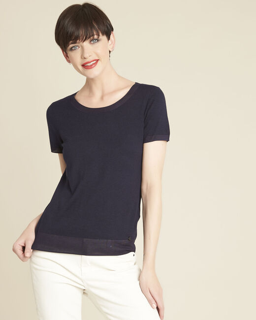 Begonia navy fine-knit sweater with rounded neckline (2) - 1-2-3