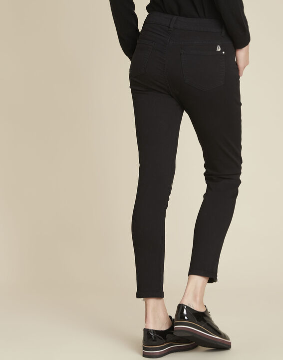 Moon black slim-cut jeans with feather embroidery (4) - 1-2-3