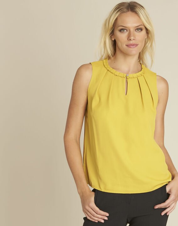 Fanette yellow top with decorative neckline PhotoZ | 1-2-3
