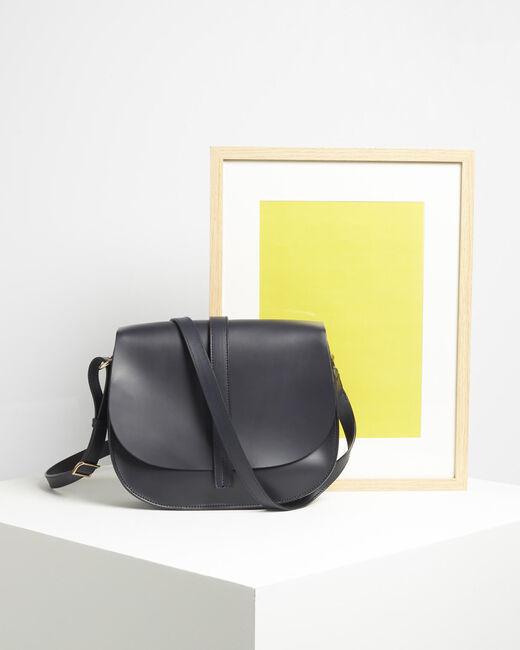 Delinda dual-fabric navy blue shoulder bag (1) - 1-2-3