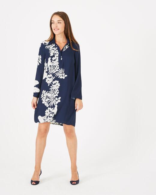 Robe chemise imprimé fleuri Azur (1) - 1-2-3