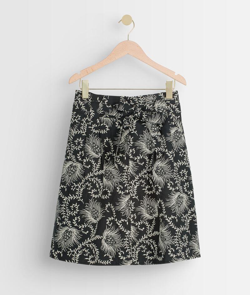 Jupe courte en coton imprimé noir et blanc Fiona PhotoZ   1-2-3