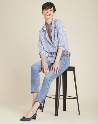 Darwin striped blouse in an oversized cut sky blue.