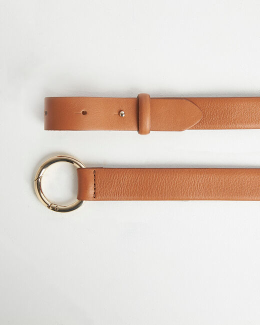 Romie camel belt with ring in leather (2) - 1-2-3
