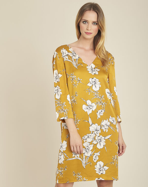 Narma yellow floral printed dress with tie at the back (1) - 1-2-3