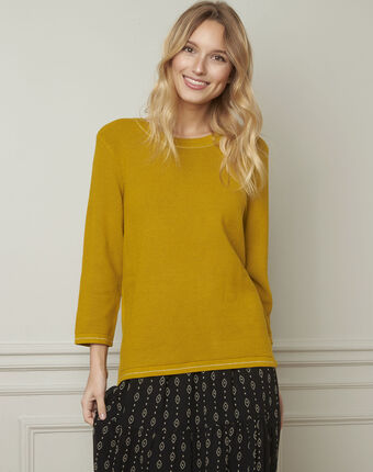 Avocado yellow pullover with buttons and lurex details aniseed.