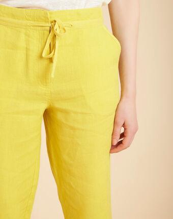 Joris yellow trousers in linen lemon.