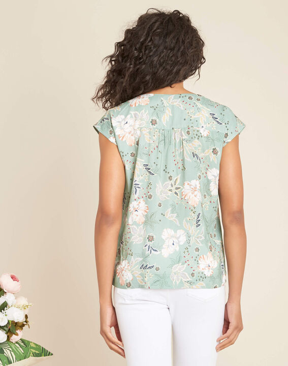 Amir light green blouse with floral print and lace (4) - 1-2-3